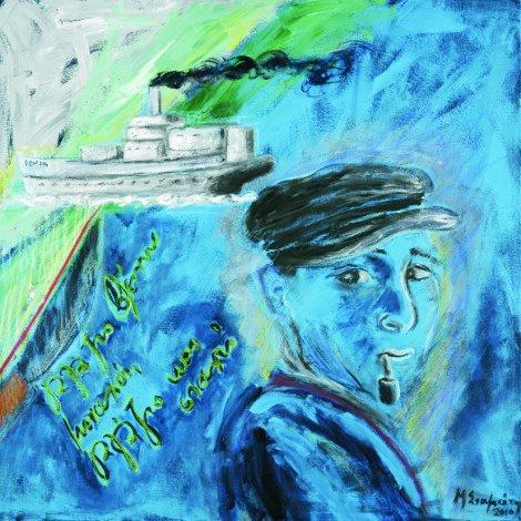 '' Γαλάζιο βλέπω μοναχά,γαλάζιο και σταχτί ''<br> Ακρυλικό  <br> 70 x 70